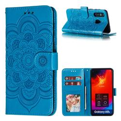 Intricate Embossing Datura Solar Leather Wallet Case for Samsung Galaxy A8s - Blue