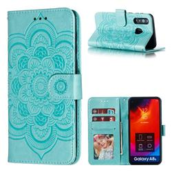 Intricate Embossing Datura Solar Leather Wallet Case for Samsung Galaxy A8s - Green