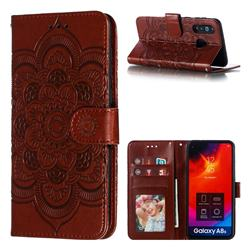 Intricate Embossing Datura Solar Leather Wallet Case for Samsung Galaxy A8s - Brown