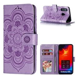 Intricate Embossing Datura Solar Leather Wallet Case for Samsung Galaxy A8s - Purple