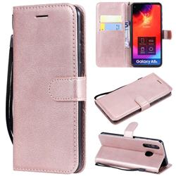 Retro Greek Classic Smooth PU Leather Wallet Phone Case for Samsung Galaxy A8s - Rose Gold