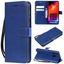 Retro Greek Classic Smooth PU Leather Wallet Phone Case for Samsung Galaxy A8s - Blue