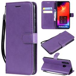 Retro Greek Classic Smooth PU Leather Wallet Phone Case for Samsung Galaxy A8s - Purple