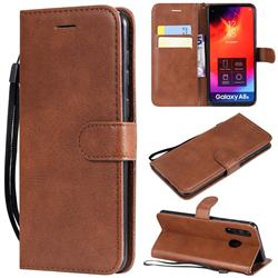 Retro Greek Classic Smooth PU Leather Wallet Phone Case for Samsung Galaxy A8s - Brown