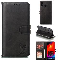 Embossing Happy Cat Leather Wallet Case for Samsung Galaxy A8s - Black