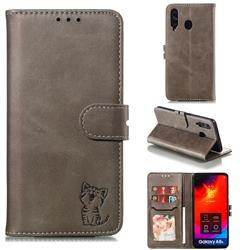 Embossing Happy Cat Leather Wallet Case for Samsung Galaxy A8s - Gray
