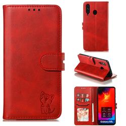 Embossing Happy Cat Leather Wallet Case for Samsung Galaxy A8s - Red