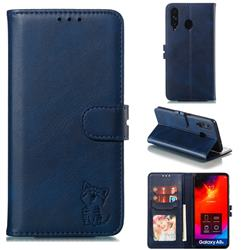 Embossing Happy Cat Leather Wallet Case for Samsung Galaxy A8s - Blue