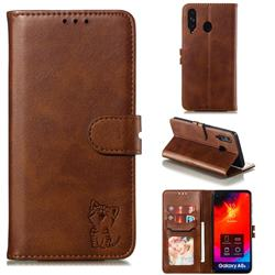 Embossing Happy Cat Leather Wallet Case for Samsung Galaxy A8s - Brown