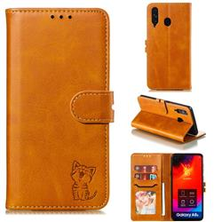 Embossing Happy Cat Leather Wallet Case for Samsung Galaxy A8s - Yellow