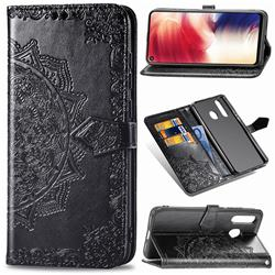Embossing Imprint Mandala Flower Leather Wallet Case for Samsung Galaxy A8s - Black