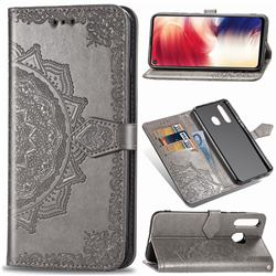 Embossing Imprint Mandala Flower Leather Wallet Case for Samsung Galaxy A8s - Gray
