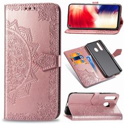 Embossing Imprint Mandala Flower Leather Wallet Case for Samsung Galaxy A8s - Rose Gold
