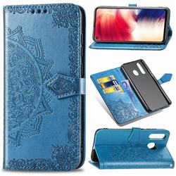 Embossing Imprint Mandala Flower Leather Wallet Case for Samsung Galaxy A8s - Blue