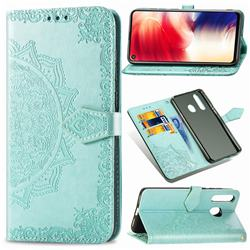 Embossing Imprint Mandala Flower Leather Wallet Case for Samsung Galaxy A8s - Green