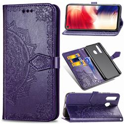 Embossing Imprint Mandala Flower Leather Wallet Case for Samsung Galaxy A8s - Purple