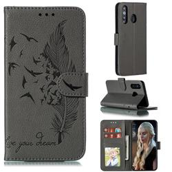 Intricate Embossing Lychee Feather Bird Leather Wallet Case for Samsung Galaxy A8s - Gray