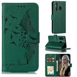 Intricate Embossing Lychee Feather Bird Leather Wallet Case for Samsung Galaxy A8s - Green