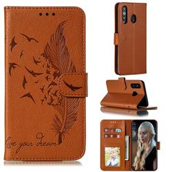 Intricate Embossing Lychee Feather Bird Leather Wallet Case for Samsung Galaxy A8s - Brown