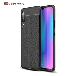 Luxury Auto Focus Litchi Texture Silicone TPU Back Cover for Samsung Galaxy A90 5G - Black