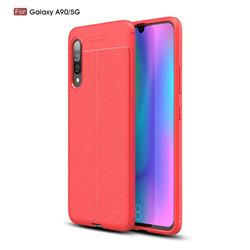 Luxury Auto Focus Litchi Texture Silicone TPU Back Cover for Samsung Galaxy A90 5G - Red