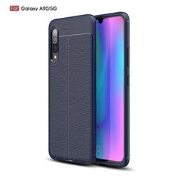 Luxury Auto Focus Litchi Texture Silicone TPU Back Cover for Samsung Galaxy A90 5G - Dark Blue