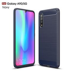 Luxury Carbon Fiber Brushed Wire Drawing Silicone TPU Back Cover for Samsung Galaxy A90 5G - Navy