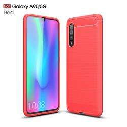 Luxury Carbon Fiber Brushed Wire Drawing Silicone TPU Back Cover for Samsung Galaxy A90 5G - Red