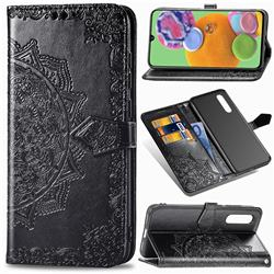 Embossing Imprint Mandala Flower Leather Wallet Case for Samsung Galaxy A90 5G - Black