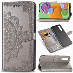 Embossing Imprint Mandala Flower Leather Wallet Case for Samsung Galaxy A90 5G - Gray
