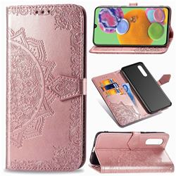 Embossing Imprint Mandala Flower Leather Wallet Case for Samsung Galaxy A90 5G - Rose Gold
