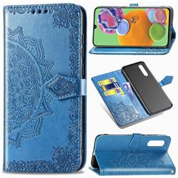 Embossing Imprint Mandala Flower Leather Wallet Case for Samsung Galaxy A90 5G - Blue