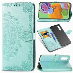 Embossing Imprint Mandala Flower Leather Wallet Case for Samsung Galaxy A90 5G - Green