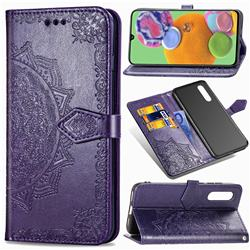 Embossing Imprint Mandala Flower Leather Wallet Case for Samsung Galaxy A90 5G - Purple