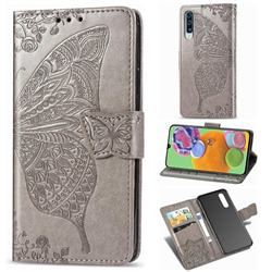 Embossing Mandala Flower Butterfly Leather Wallet Case for Samsung Galaxy A90 5G - Gray