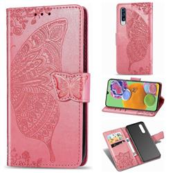 Embossing Mandala Flower Butterfly Leather Wallet Case for Samsung Galaxy A90 5G - Pink