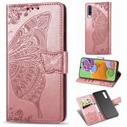 Embossing Mandala Flower Butterfly Leather Wallet Case for Samsung Galaxy A90 5G - Rose Gold