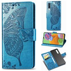 Embossing Mandala Flower Butterfly Leather Wallet Case for Samsung Galaxy A90 5G - Blue