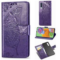 Embossing Mandala Flower Butterfly Leather Wallet Case for Samsung Galaxy A90 5G - Dark Purple