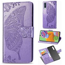 Embossing Mandala Flower Butterfly Leather Wallet Case for Samsung Galaxy A90 5G - Light Purple