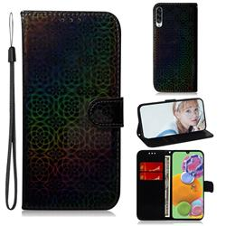 Laser Circle Shining Leather Wallet Phone Case for Samsung Galaxy A90 5G - Black