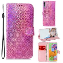 Laser Circle Shining Leather Wallet Phone Case for Samsung Galaxy A90 5G - Pink