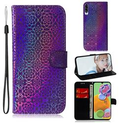 Laser Circle Shining Leather Wallet Phone Case for Samsung Galaxy A90 5G - Purple