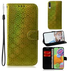 Laser Circle Shining Leather Wallet Phone Case for Samsung Galaxy A90 5G - Golden