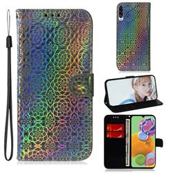 Laser Circle Shining Leather Wallet Phone Case for Samsung Galaxy A90 5G - Silver