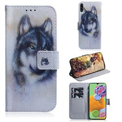 Snow Wolf PU Leather Wallet Case for Samsung Galaxy A90 5G