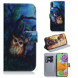 Oil Painting Owl PU Leather Wallet Case for Samsung Galaxy A90 5G