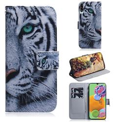 White Tiger PU Leather Wallet Case for Samsung Galaxy A90 5G