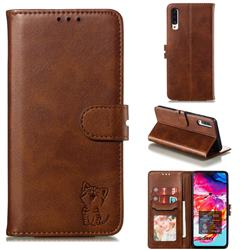 Embossing Happy Cat Leather Wallet Case for Samsung Galaxy A90 5G - Brown