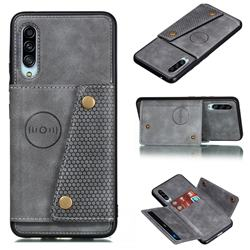 Retro Multifunction Card Slots Stand Leather Coated Phone Back Cover for Samsung Galaxy A90 5G - Gray